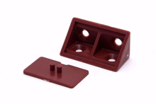Picture of 10 Plastic Corner Angle Brackets 90 Degree (Dark Red) With Cover