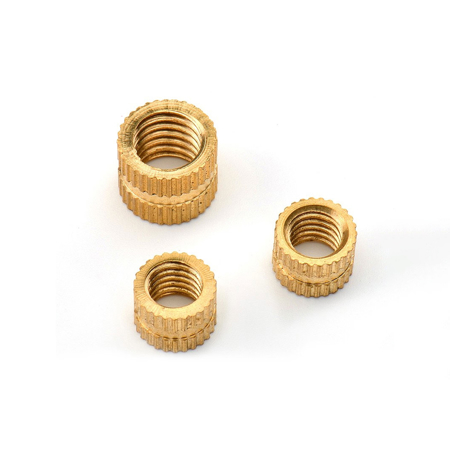 M3*7*5.3 - Brass Cylinder Knurled Round Molded-in Insert Embedded Nuts - pack of (5)