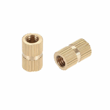 M5*12*6.3 - Brass Cylinder Knurled Round Molded-in Insert Embedded Nuts - Pack Of(5)